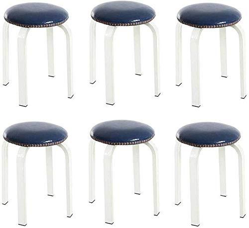 CHU N1 Esstisch Hocker, stapelbare Runde PU Hocker Edelstahlniet Sofa Hocker - 6-Pack 106 (Color : White Legs, Size : Blue)