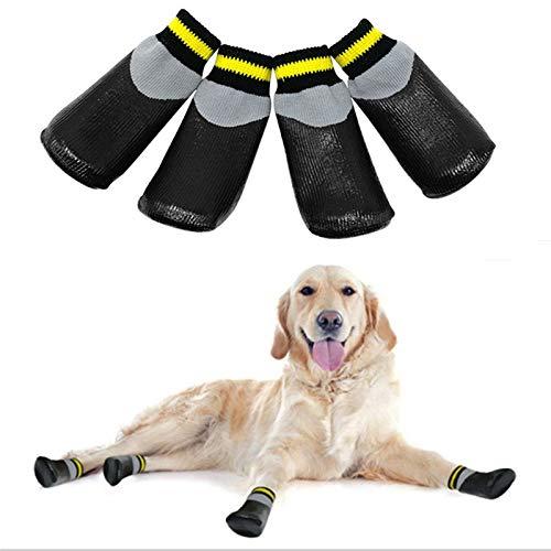 VICTORIE Hundeschuhe Pfotenschutz Regenschutz Hundestiefel Socken wasserdicht für Haustier mittlere und große Hunde 4 Stücke Schwarz(S: 6.0 X 5.0 cm)