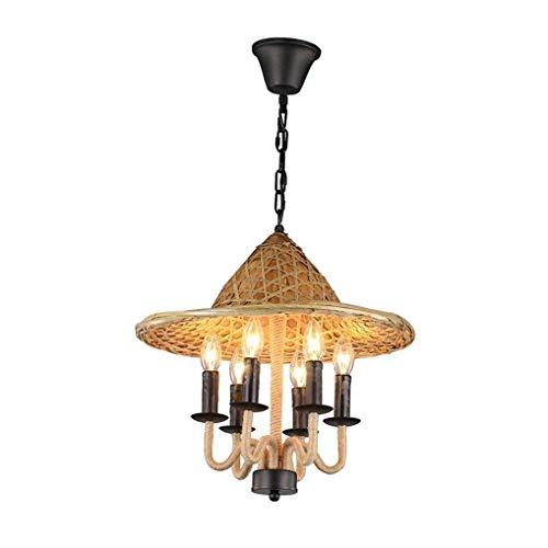 Dr.Sprayer Chandelier Pastoral Retro Design Pendant Lamp Restaurant Hot Pot Shop Vintage Creative Hanging Lamp E14 6 Flammig Bamboo Straw Hat Hemp Rope Metal Pendant Lamp ?52CM Adjustable Height