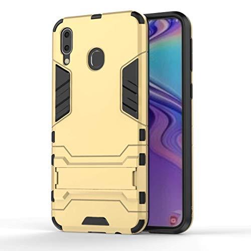 COWEN für Samsung Galaxy A50 Hülle,Rugged PU+PC Hybrid Armor Schutzhülle,Handykasten Schroffes Shockproof Anti-Wrestling für Samsung Galaxy A50 Smartphone-Gold