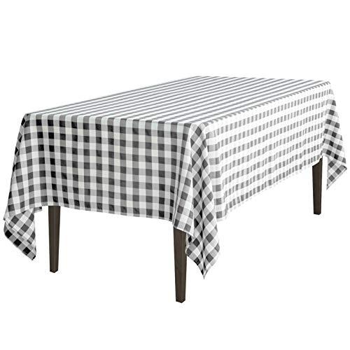LinenTablecloth 60 x 126-Inch Rectangular Polyester Tablecloth Black & White Checker