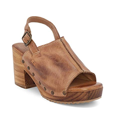 Bed|Stu Women's Marie Leather Wood Bottom Clog Slingback (Tan DD, 6)