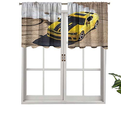 Hiiiman Cortina opaca con bolsillo para barra, color amarillo, para fotografía de coche, humo, velocidad rápida, competición Pi, juego de 2, 42 x 36 pulgadas para dormitorio y sala de estar