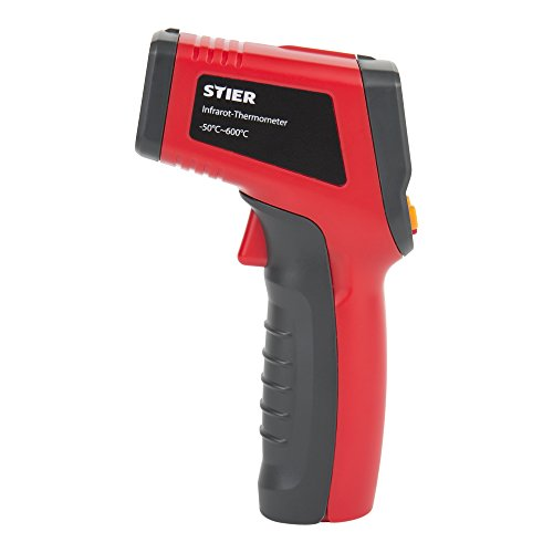 STIER Infrarot-Thermometer, Messbereich -50 °C - 600 °C, 2x 1,5 V Batterien, mit Displaybeleuchtung