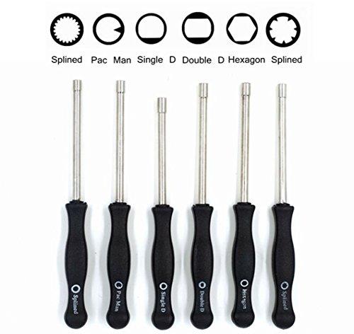 Sunreek Vergaser-Einstellwerkzeug, Formen: Pac-Man/Einzel-D/Doppel-D/Sechskant-Steckschlüssel/21-Kerbverzahnung/7-Kerbverzahnung, Schraubendreher für gewöhnliche 2-Takt-Kleinmotoren (6-teilig)