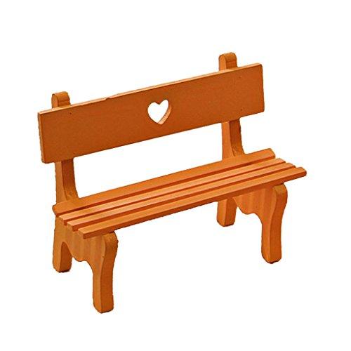 Sharplace Miniatur Holz Gartenbank Bank für Puppenstube, Puppenhaus Gartenmöbel Garten Deko - Gelb