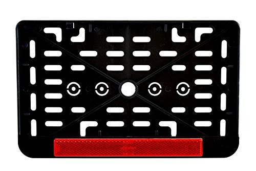 1x Kennzeichenhalter Nummernschildhalter Made in EU 240 x 130 mm 24 x 13 cm (für Roller Moped Traktor Anhänger Motorrad Hänger) Mit Rückstrahler Rot Reflektor mit Zulassung