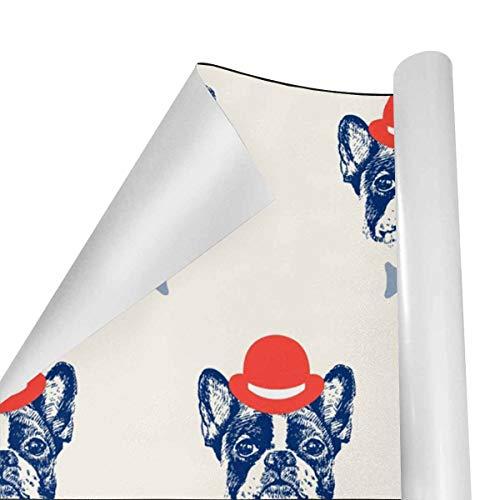 Gift Wrapping Paper Roll French Bulldog for Birthday,Holiday,Wedding, Gift Wrap - 3Rolls - 58inch x 23inchPerRoll