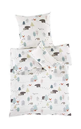 hessnatur Baby Mädchen und Jungen Unisex Jersey Bettwäsche für aus Reiner Bio-Baumwolle Gemustert 135x200+80x80 cm