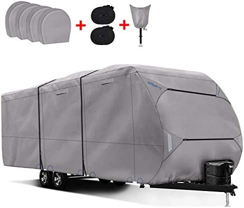 RVMasking Heavy Duty 300D Top Windproof Travel Trailer Cover for RV Camper Motorhome with 4 product image