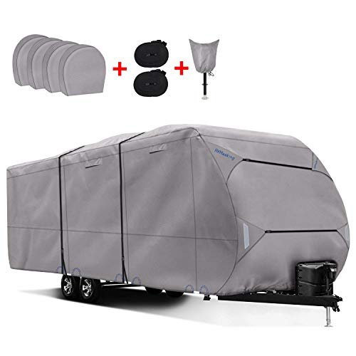 "RVMasking Upgraded 300D Top Windproof Travel Trailer Cover 24'1"" - 26' for RV Camper with 4 Tire Covers, Tongue Jack Cover"