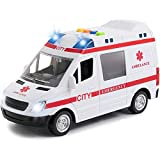 Ambulance Toy Car & 2 Toy Figures with Light & Siren Sound Effects - Friction Powered Wheels & LED Lights - Heavy Duty Plastic Rescue Vehicle Toy for Kids & Children by Toy To Enjoy