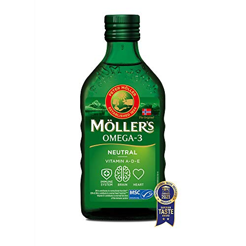 Moller's ® | Aceite de hígado de bacalao con omega 3 | Complemento dietético con omega 3, 6, 9, EPA, DHA y vitaminas A, D y E | Aceite de hígado de bacalao | Sabor Neutro | 250 ml