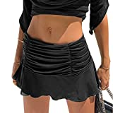 Easisim Women Girl Y2K Ruched Ruffle Pleated Skirts High Waisted Stretch Tennis Sexy Mini Skirt with Lining Shorts (Black, Small, s)
