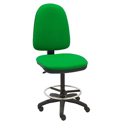 Centrosilla Taburete Giratorio Oficina ergonómico Torino, Regulable en Altura y Profundidad, aro reposapiés Cromado Regulable con Ruedas (Verde)