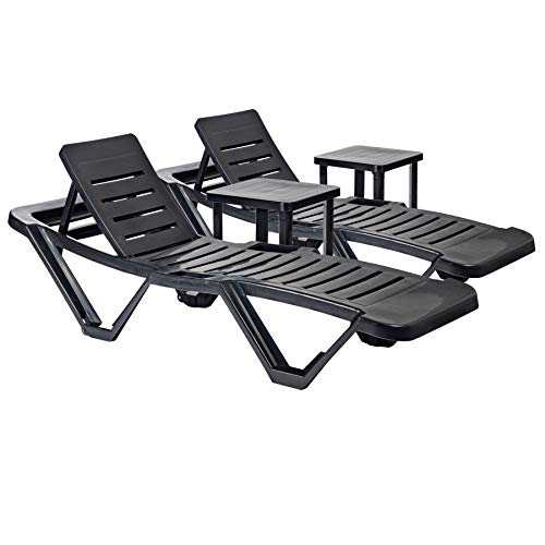 Resol 4 Piece Master Plastic Garden Sun Lounger and Side Table Set - Adjustable Reclining Outdoor Furniture - Grey