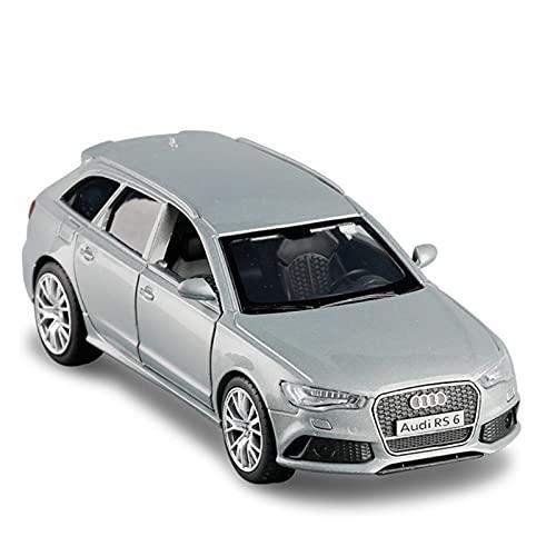 Kit Juguetes Coches Metal Resistente para Audi RS6 1:36 Simulación Aleación Tire hacia Atrás Modelo De Coche Deportivo Decoración De Colección Regalos Niños Maravilloso Regalo (Color : Plata)