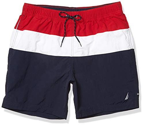 Nautica Men's Colorblock Swim Shorts, Red, X-Large