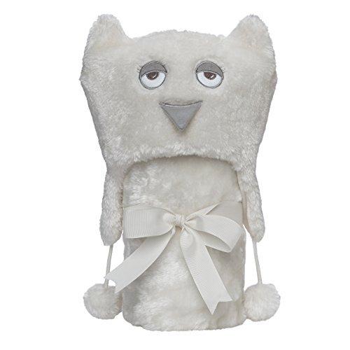 Elegant Baby Giftable Cream Owl Aviator Hat with Fleece Lining and Soft, Cream, 30x34 Ultra Plush, Soft Stroller Blanket by Elegant Baby
