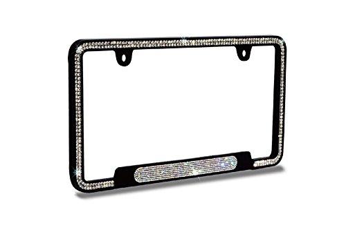 JR2 Premium Shinning Glass Crystals Black Metal License Plate Frame(Oval Shiny Crystal Design)+Free Caps (White)
