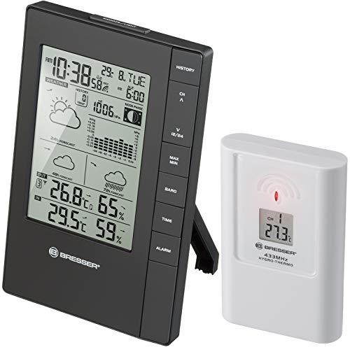 Bresser Wetterstation Funk mit Außensensor TemeoTrend FSX mit 3-Tages-Vorhersage, Mondphase, Frostwarnung, Luftdruck, Luftfeuchtigkeit, Temperatur und integriertem Wecker