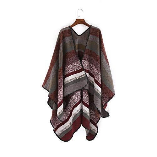 nobrand - Bufanda de invierno para mujer, color a rayas, poncho grueso, caliente, pañuelo para mujer marrón rojizo 150 cmX130 cm