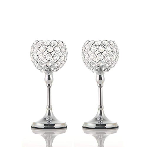 VINCIGANT 2PCS Silver Crystal Candle Holders/Candlesticks for Christmas Decoration Wedding Anniversary Dinning Table Centerpieces, 10 Inches Tall