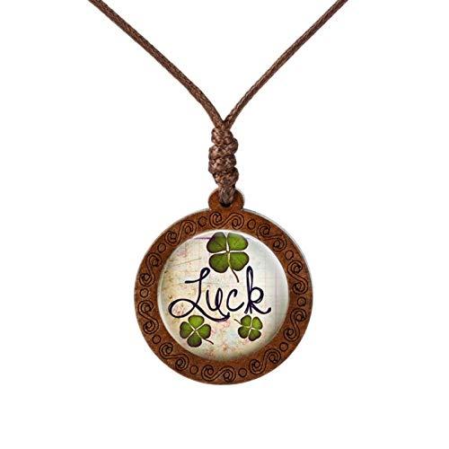 AMINIY Collar De Madera del Collar De Madera Diente De León De Cuatro Hojas De Trébol Cabochon Colgante Collar De La Joyería del Patrón del Sol Collar (Color : 13)