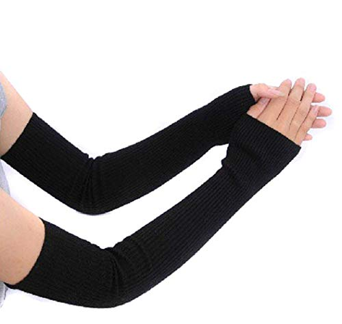 UPSTORE 1Pair Long 45cm/17.7inches Women Lady Girls Knitted Elbow Length Wrist Thumbhole Fingerless Elastic Stretch Long Arm Sleeve Winter Warmer Mitten Sleeves Best Xmas Gift