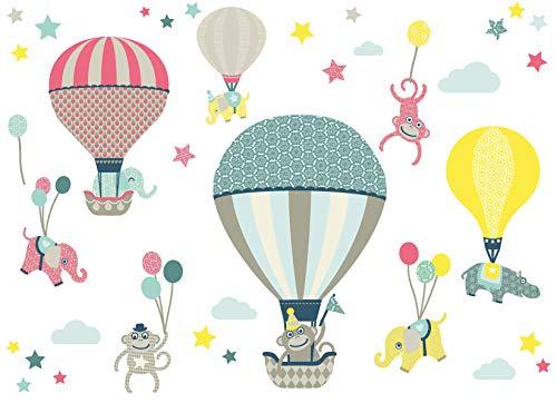 Anna Wand Wandsticker HOT AIR Balloons - Wandtattoo für Kinderzimmer/Babyzimmer mit Heißluftballons - Wandaufkleber Schlafzimmer Mädchen & Junge/Wanddeko Baby/Kinder / 2 DIN A3 Bögen