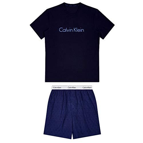 Calvin Klein Pyjama court Astral, Bleu, Taille Medium Homme