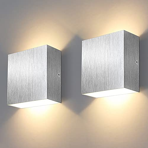 Shubel - Aplique de pared para interior moderno, lámpara de pared LED, blanco cálido 3000 K, aplique de metal, arriba y abajo para lámparas de pared para salón, pasillo, dormitorio (Plata)