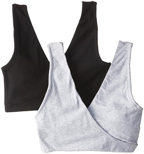 Lamaze Maternity Women's 2 Pack Soft Sleep Bra, Heather Grey/Black, Medium