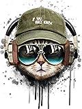 WOWDECOR Pintura por números para adultos, niños, niñas, gato, perro, tierra, ciudad, noche, 40 x 50 cm, preimpresa, pintura al óleo (gato, sin marco)