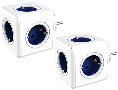 Dr Bloc multiprise avec 4 Prises Non-chevauch/ées et 2 Ports de Chargement USB FR Bott Multi-Cube Original DuoUSB FR Bleu//Blanc Adaptateur de Voyage et multiprise sans c/âble 230V