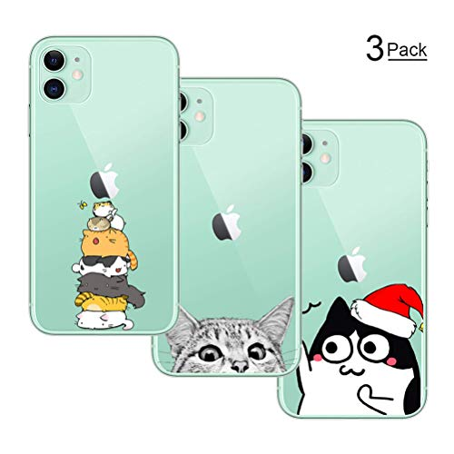 shumeifang [3 Pack] Cover iPhone 11, Custodia Morbida di TPU con Motivo Carino, Stampa Fumetto per iPhone 11 Pollici - Gatto * 3