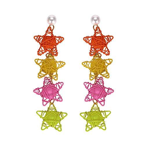JIAJBG Joyas de Oreja Pendientes de Color Tejido de Color Oído Pendientes de Estrella de Cinco Puntas Pendientes Colgantes Pendientes Pendientes para Niñas Moda/B