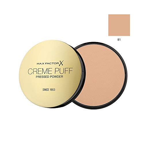 MAX FACTOR Creme Puff Face Foundation Make Up, Over 10 Different Cosmetic Shades Poducts To Choose From – (1 PACK, 81 Truly fair)