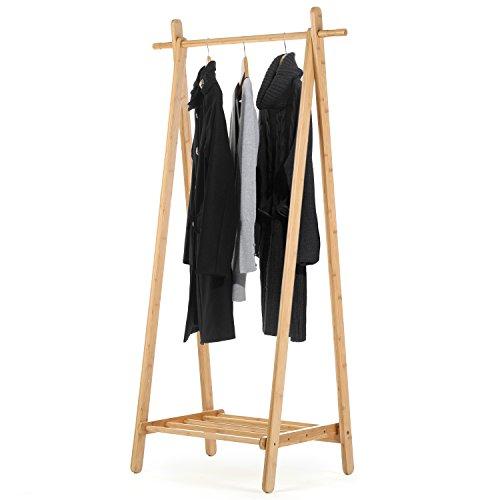 MyGift entrada madera zapato y perchero, barra de la ropa de almacenamiento organizador