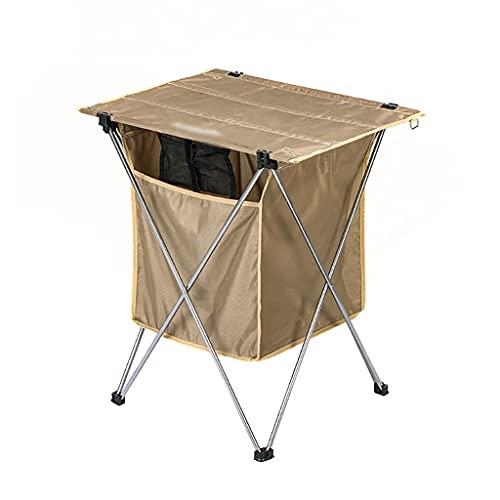 WCN Mesa Plegable Mesa De Camping Plegable Portátil con Bolsa De Almacenamiento Top De Mesa De Tela De Oxford para El Picnic De La Barbacoa Que Acampa El Senderismo Mesa (Color : Brown)