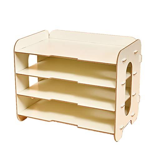 cicilin organizador escritorio madera Set de almacenamiento DIY libro 3 compartimentos de almacenamiento cestas con correo cajas de almacenamiento de carpetas organizador, color blanco