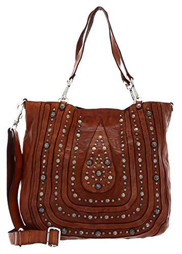 Campomaggi Damen Shopper-Tasche aus Leder mit Nieten Braun Ein Größe