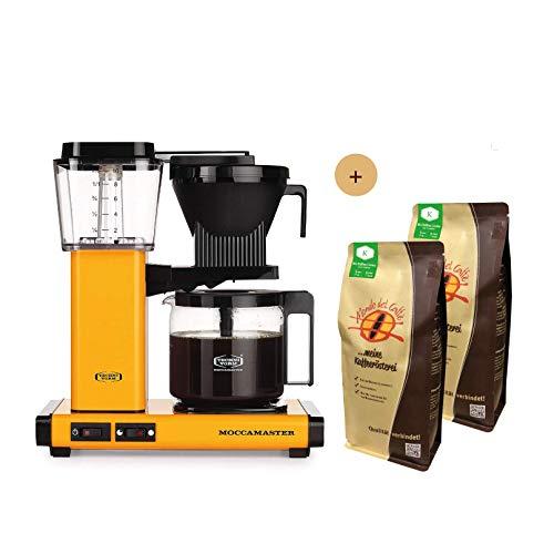 Moccamaster Filter Kaffeemaschine KBG Select Yellow Pepper, 1.25 Liter, 1520 W, Black Aktionspaket mit 2 * 500 gr. Filterkaffee von Mondo del Caffè