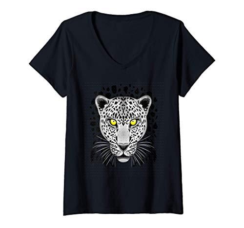 Mujer Leopard Cheetah para Hombres Mujeres Nios Grfico con ojos Camiseta Cuello V