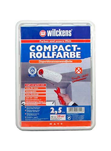 Compact Rollfarbe 2,5l ca. 25 m² weiss matt Farbe Innenfarbe Dispersion Wandfarbe Innen Deckenfarbe