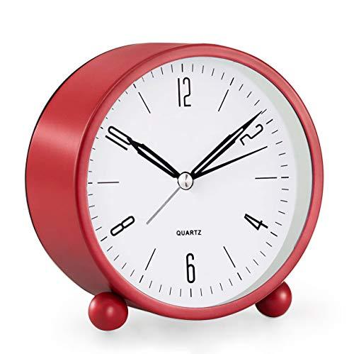 Analoger Wecker, 10,2 cm, super leise, nicht tickende kleine Uhr mit Nachtlicht, batteriebetrieben, einfaches Design, für Schlafzimmer, Nachttisch, Schreibtisch, Rot