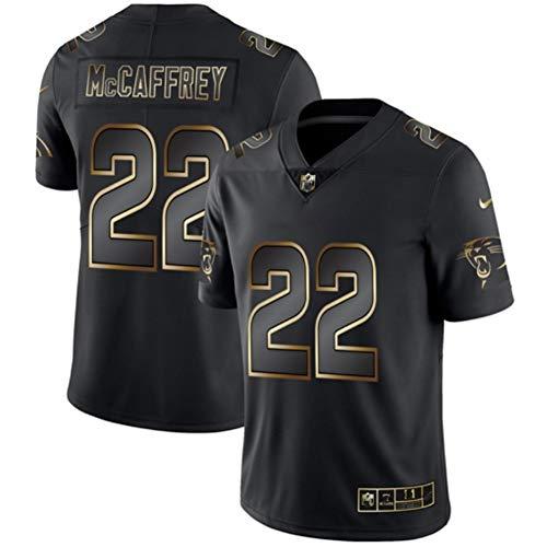 Carolina Panthers # 22 American Football Trikot, Christian Mccaffrey 22# Rugby Jersey Herren Damen Fans Trikots Sportswear T-Shirt Kurzarm-Black-XL