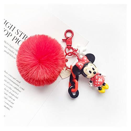 Xcwsmdq Llavero Accesorios de Moda de Coches Piel Linda de la Bola Llavero Pato Donald Compra Mujer Llavero Teléfono Felpa Colgante de la Bola Regalo (Color : Minnie Red)