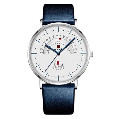 TXOZ-Q Reloj para Hombres Lujo Impermeable de Acero Inoxidable Malla de Malla Reloj de Moda Fecha de Moda Date Reloj Chico (Color : Leather Blue 2)