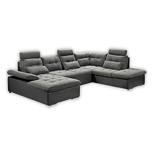 JAKARTA Wohnlandschaft in U-Form, Stoffbezug Schwarz / Lava - Ausziehbares Sofa mit Schlaffunktion & Bettkasten - 324 x 107 x 170 cm (B/H/T) Rechts